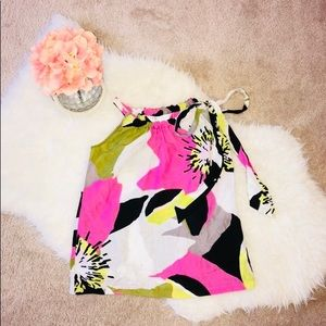 Trina Turk Silk Blend Bold Floral Tank with Ties